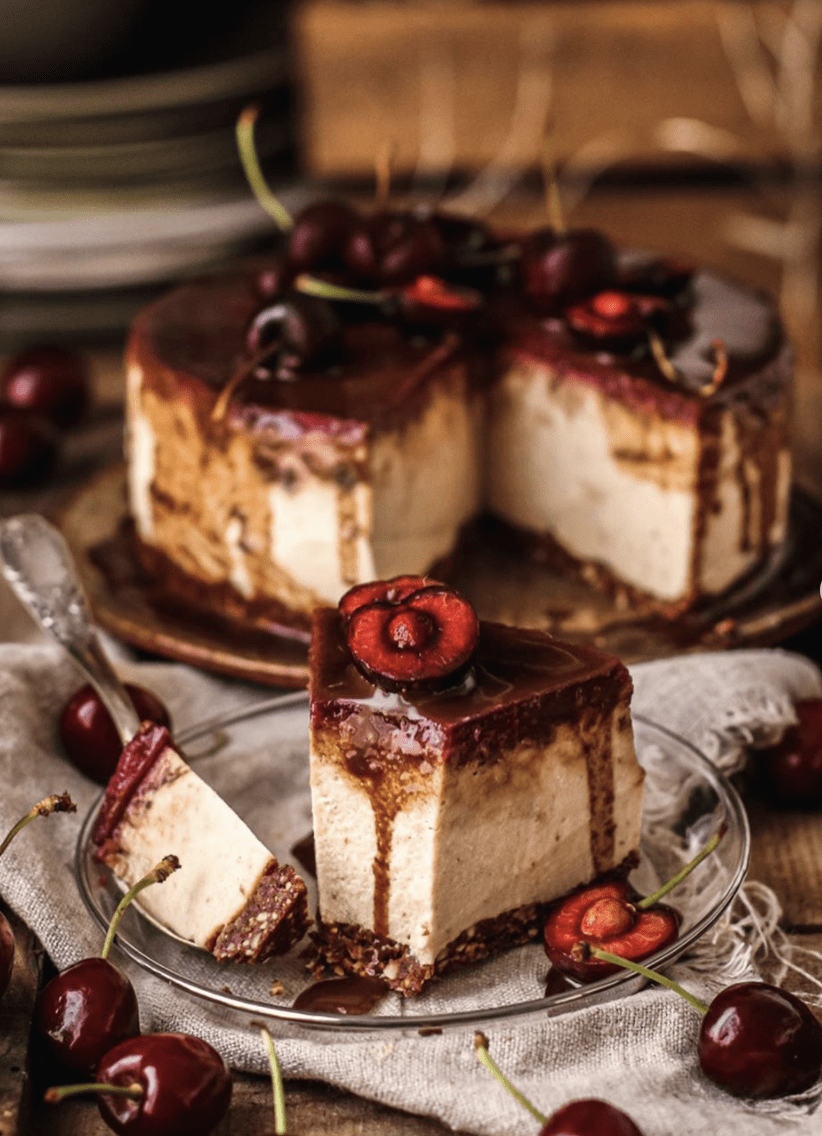 Cheesecake con mermelada de cereza